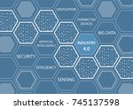 industry 4.0 concept with blue... | Shutterstock .eps vector #745137598