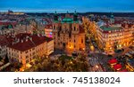 prague  czech republic  ... | Shutterstock . vector #745138024