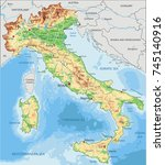 detailed italy physical map. | Shutterstock .eps vector #745140916
