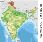detailed india physical map. | Shutterstock .eps vector #745140940