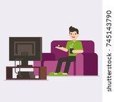 man watching tv. man drinking... | Shutterstock .eps vector #745143790