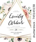vector floral design card.... | Shutterstock .eps vector #745145158