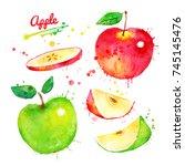 watercolor illustration set of... | Shutterstock . vector #745145476