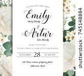 floral wedding invitation save... | Shutterstock .eps vector #745148884