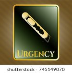 gold emblem with cutter icon... | Shutterstock .eps vector #745149070