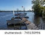 beautiful day at the alster... | Shutterstock . vector #745150996