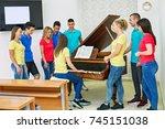 music class in high school  | Shutterstock . vector #745151038