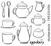 set doodle icons   service tea...