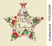 christmas and new year card in... | Shutterstock .eps vector #745152349