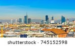 skyline of milan  view from the ... | Shutterstock . vector #745152598