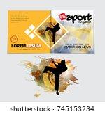 sport magazine cover vector... | Shutterstock .eps vector #745153234