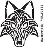 tribal wolf head design art | Shutterstock .eps vector #745153558