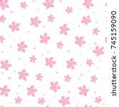 sakura cherry blossoms seamless ... | Shutterstock .eps vector #745159090