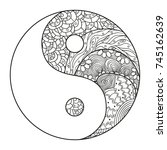 yin and yang. religion symbol.... | Shutterstock .eps vector #745162639