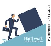 hard work concept. businessman... | Shutterstock .eps vector #745162774