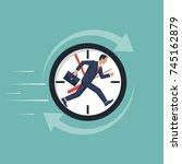 businessman running away in... | Shutterstock .eps vector #745162879