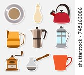 set of simple stickers coffee... | Shutterstock .eps vector #745163086