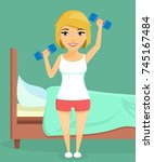 young girl with dumbbells. girl ... | Shutterstock .eps vector #745167484