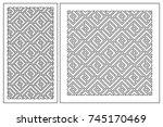set pattern geometric ornament. ... | Shutterstock .eps vector #745170469