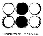 set of black ink brush strokes... | Shutterstock .eps vector #745177453