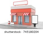 store with copy space board... | Shutterstock . vector #745180204