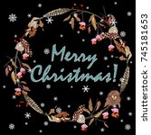 merry christmas greeting card.... | Shutterstock .eps vector #745181653