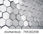 silver abstract hexagonal...   Shutterstock . vector #745182358