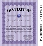 violet formal invitation... | Shutterstock .eps vector #745184764