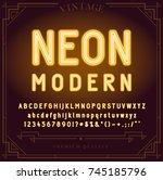 bright neon alphabet letters ... | Shutterstock .eps vector #745185796