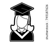 woman graduating  vector... | Shutterstock .eps vector #745187626