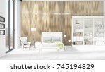 scene with brand new interior... | Shutterstock . vector #745194829