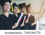 new graduate student wear... | Shutterstock . vector #745196773