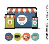 online shopping concept. laptop ... | Shutterstock .eps vector #745197448