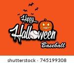banner happy halloween and... | Shutterstock .eps vector #745199308