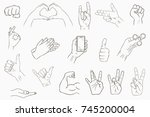 hand gestures set. collection... | Shutterstock .eps vector #745200004