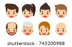 cartoon avatar set. cute men... | Shutterstock .eps vector #745200988