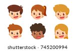 cartoon avatar set. cute boys... | Shutterstock .eps vector #745200994