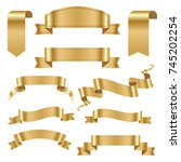 golden ribbon tape banner flag... | Shutterstock .eps vector #745202254