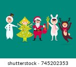 cute kids wearing christmas... | Shutterstock .eps vector #745202353