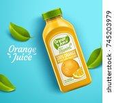 orange juice package design ... | Shutterstock .eps vector #745203979