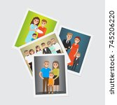 happy family portraits set.... | Shutterstock . vector #745206220
