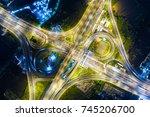 look down view over the highway ...   Shutterstock . vector #745206700