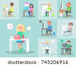 employees work at computers in... | Shutterstock . vector #745206916
