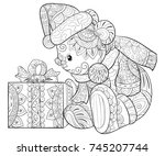 coloring book page for adults... | Shutterstock .eps vector #745207744