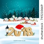 happy new year 2018 background... | Shutterstock .eps vector #745210669