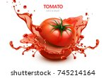 sliced tomato with splashing... | Shutterstock . vector #745214164