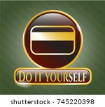 golden emblem with credit card ... | Shutterstock .eps vector #745220398