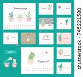 cute cactus with calendar | Shutterstock .eps vector #745221580