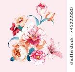 flowers are full of romance ... | Shutterstock . vector #745222330