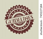 red guidelines distressed with... | Shutterstock .eps vector #745227184